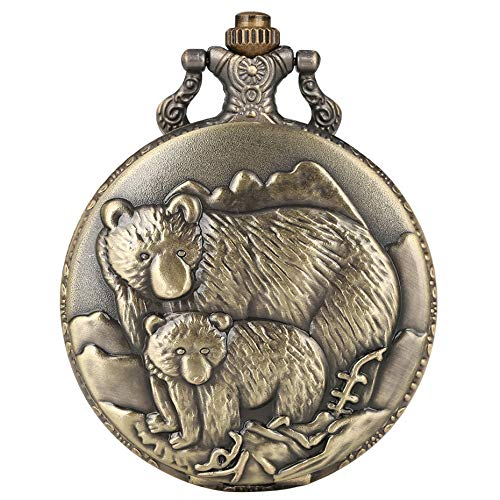 XY&DQ Taschenuhr Polar Bear Display Quarz Taschenuhr Bronze Full Hunter Pendelleuchte mit Steampunk Kette, Bronze