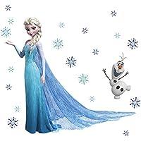 Sticker mural Elsa de La Reine des neiges Olaf en Papier peint Décoration murale pour enfant Motif Frozen Décoration de Noël Christmas Décoration murale New Exclusive