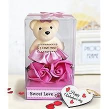TIED RIBBONS V Day Teddy with Roses and Greeting Card (8.99 cm x 8.99 cm x 16 cm, TR VL18 TeddyFlowerTag4L003)