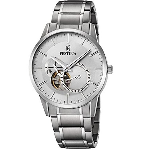 Festina Men's Automatic Watch with Silver Dial Analogue Display and Silver Stainless Steel Bracelet F6845/1