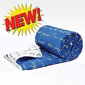 Divine Casa Polyester Navy Blue & White Duvet & Comforter(Single)