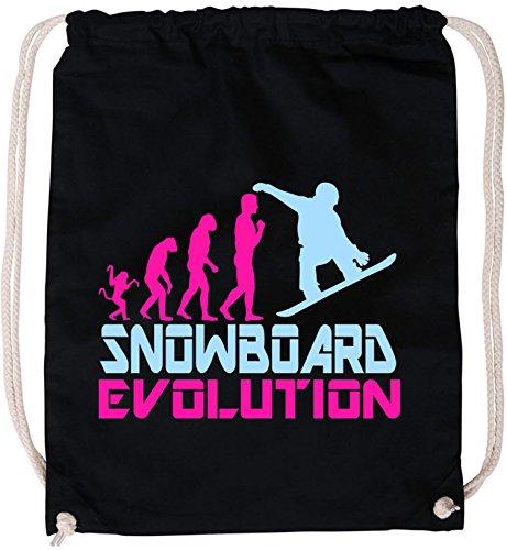 EZYshirt® Snowboard Evolution Baumwoll Stoffbeutel