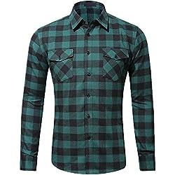 Camisa Casual de Cuadros de Hombre Camisa Franela de Moda Manga Larga Ropa Camisas de Vestir con Botones Long Sleeves Shirt Tops para Hombre