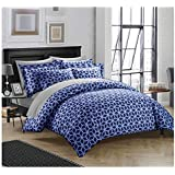 """Linenwalas 100% Organic Cotton Geometric Design King Size Duvet Cover With 2 Pillow Covers - Blue & White- 90""""x100"""" - (Set Of 3)"""