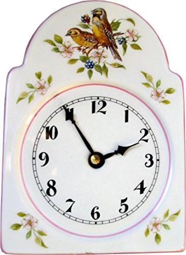 Keramik Schwarzwalduhr mittelgroß rot-blau Vogel mit rosa Blumen Rosa Rand handbemalt Junghans Quarzuhr