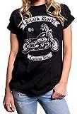 Biker Shirt - Damen Oberteile groß Größen - Rockige Motorrad T-Shirts mit Aufdruck Harley Umbau schwarz M