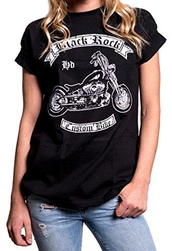Biker Shirt - Damen Oberteile groß Größen - Rockige Motorrad T-Shirts mit Aufdruck Harley Umbau schwarz XXXL (Großes T-shirt Harley-davidson)