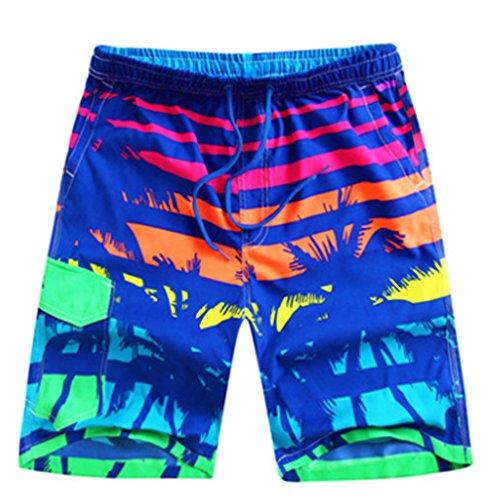 BININBOX®Herren Shorts Badeshorts Badehose Surfshorts beach pants Surfwear schnelltrocknend Beintasche bunt verstellbarer Bund Muster 3