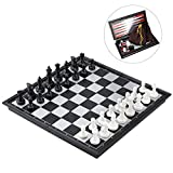 iBaseToy Magnetic Travel Chess Set 3 in 1 Chess Checkers Backgammon Set for Adults Kids Folding Portable Chess Set Traditional Chess Game 9.8\