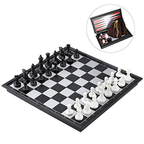 iBaseToy Reise Schachspiel Magnetisch 3-in-1 für Schach Dame und Backgammon 25cm x 25cm mit Faltbarem Klein Schachbrett Pädagogisches Spiel für Kinder, Reisen