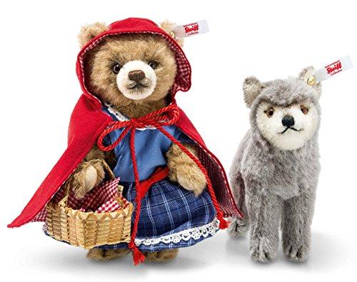 Steiff, Teddybär, Rotkäppchen mit Wolf, 16 cm, stehend, braun/grau, limitiert