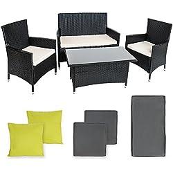 TecTake Conjunto muebles de Jardín en Poly Ratan Aluminio color antracita incluyendo 2 Set de fundas intercambiables+ 4 almohadas, tornillos de acero inoxidable