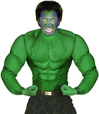 Camiseta para disfraz, diseño musculoso de Hulk, color verde