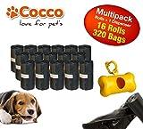 Sacchetti igienici per cani con dispenser in plastica. Confezione da 320 pezzi. Sacchetti per bisogni dei cani.