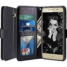 Huawei Y6 II Compact / Huawei Y5 II Funda, LK Carcasa Cubierta Cuero Billetera Case Flip Cover Con Ranuras de Tarjeta - Negro