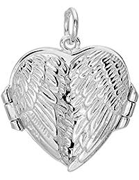 Plata de Ley con Acabado de rodio corazón colgante medallón con doble ala–20x 20mm