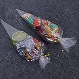 100 Pièces Sacs à Bonbons Anniversaire Sac Sachet transparent de Cellophane Triangulaire avec Liens de Fil de Fer pour Candy Bar Mariage Anniversaire Noël Partie 38 x 19cm