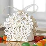 50 Pack Laser Cut Butterfly Wedding Favour Box With Organza Ribbon Birthday Party Candy Boxes Bomboniere