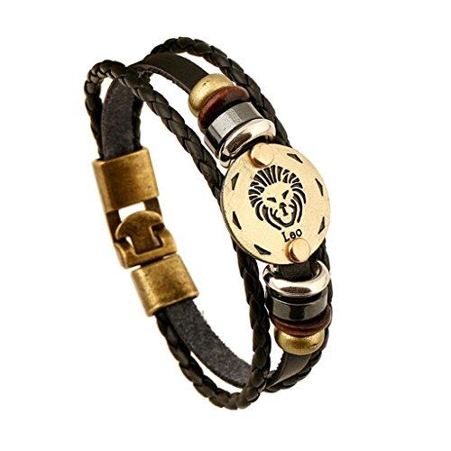 gnzoe-bijoux-hommes-femmes-bracelet-en-cuir-perle-bracelet-manchette-leo-zodiac-birthday-giftsnoir
