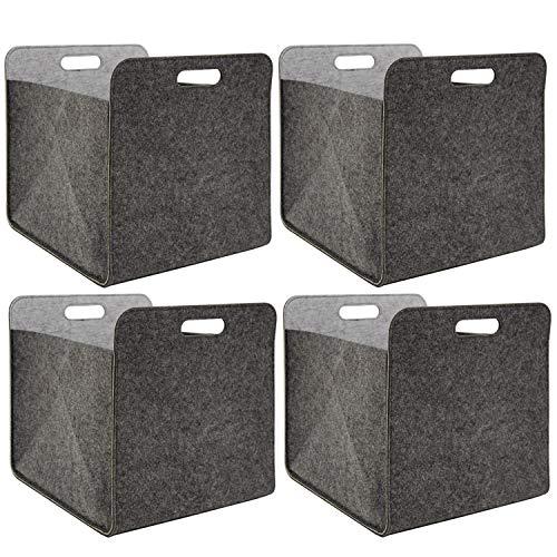 Rechteckige Schublade Ziehen (DuneDesign 4er Set Filz Aufbewahrungsbox 33x33x38 cm Kallax Filzkorb Regal Einsatz Box Grau)