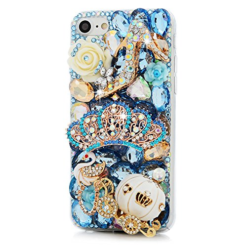 iPhone 7 Custodia Bling Glitter 3D DIY Strass Trasparente Rigida Plastica Hard - MAXFE.CO Case Cover Shock-Absorption Bumper,Duro Plastica PC Protettiva,Cristallo Diamante per Cover iPhone 7 4.7 - co corona imperiale,zucca,Swan