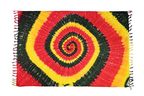 Sarong Pareo Wickelrock Strandtuch Tuch Wickeltuch Handtuch Bunte Sommer Muster Set Gratis Schnalle Schließe (Rasta Batik MSOX) (Fashion Rasta)