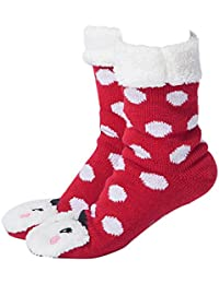MaaMgic Slipper Socks Women Girls Premium Soft Home Non-Slip Bootee Winter Wool Socks Extra Warm Thermal Knit With Pompoms Decoration Beautiful Christmas Gift for Ladies
