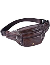 Buyworld Men Geniune Waist Bags Fanny Packs Retro Belt Bags Cell Phone Purse For Male Fashion Travel Pouch