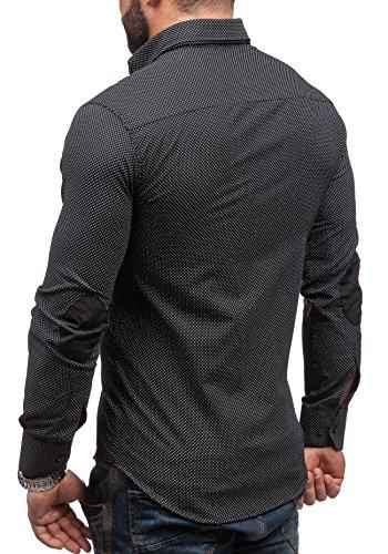 BOLF Langarm Herrenhemd Hemd Figurbetont Freizeit Slim Fit BLACK ROCK 3535 Schwarz