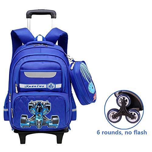 Hmjz trolley zaino removibile alta capacità poliestere borsa impermeabile con nastro di avvertimento fluorescente per ragazzi, ragazze, scuole primarie e secondarie,b