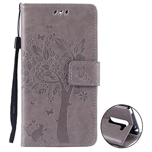 LG Magna LG G4C Mini Hülle Cover Case Leder Muster Flip Etui Case Echt,Nnopbeclik Neues Design PU Leather Luxus Blume Case Handytasche Imprinting Baum, Blume, Katze und...