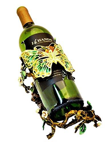 Ciel Sammelfiguren Schmetterling Design Weinflaschenhalter Emaille auf Zinn Set mit Swarovski-Kristallen -