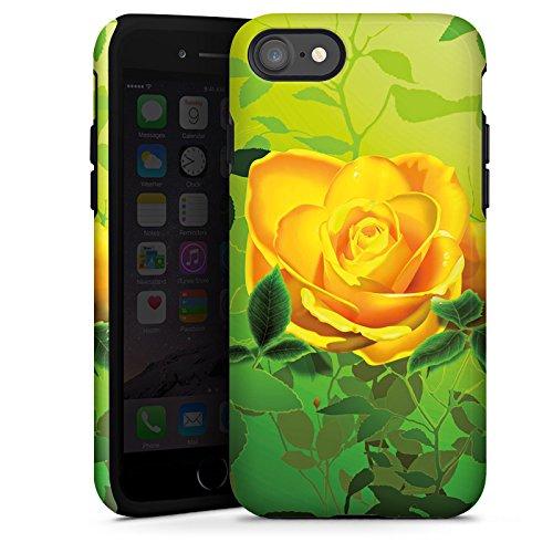 Apple iPhone X Silikon Hülle Case Schutzhülle Gelb Rose Blume Tough Case glänzend