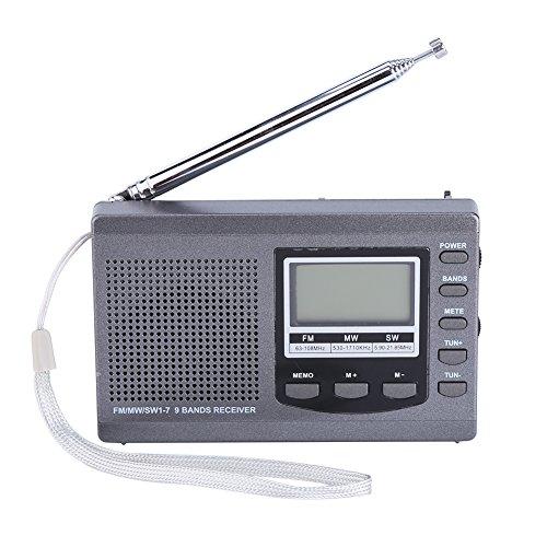 Zerone Tragbare Mini-Radios FM/MW / SW-Empfänger mit Digital Wecker FM Radio Receiver(Grau)