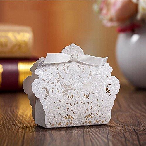 Ponatia 50 pcs taglio a laser con il favore del partito di nozze del nastro, borse per regali di nozze caramelle al cioccolato e confezioni regalo (bianco)