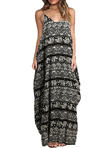 Romacci Women Boho Floral Print Dress Spaghetti Strap Bohemian Beach Dress Loose Long Maxi Plus Size Dress