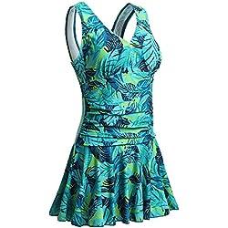 Summer Mae para mujer de talla grande una sola pieza, hoja verde