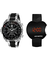 Swisstyle Exclusive Upgrade Core Analog Black Designer Dial Combo For Men-SS-607BLK-LED