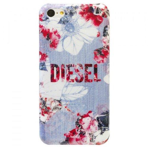 Diesel Klapphülle Flowers für Apple iPhone 5C Hellblau/Pink