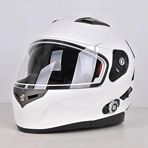 zyy Motocicletta schianto componibile Casco ECE Approvato Pieno Volto da Corsa Motociclo Casco con Sole Visiera per Uomini Bluetooth Amichevole (Colore : Bianca, Dimensioni : XL(61-52))