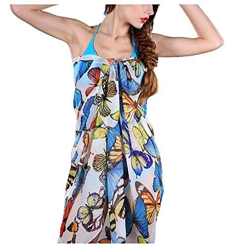 Peach/Lily Flower Yellow Sarong Bikini Cover Up Women Swimwear Beach Dress Sunscreen SPA Bathing Wrap Test