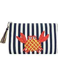Daisy Rose Womens Striped Canvas Summer Beach Clutch Bag With Crab Applique And Tassel
