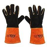 1 Paar Leder Grill Handschuhe Wildleder Grillhandschuhe, Ofenhandschuhe Backhandschuhe lang Handschuhe , 662°F(350℃), Topflappen für Küche und Grill Grillplatz Mikrowelle BBQ Schweißen Handschuhe