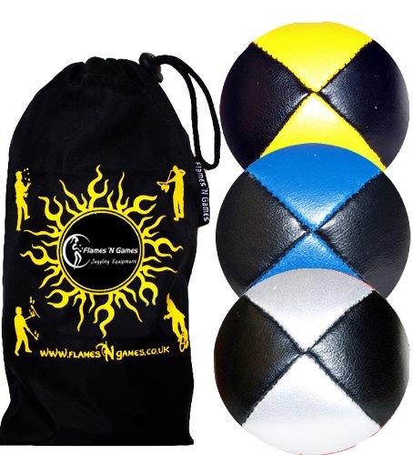 Jonglierbälle 3er Set - Profi Beanbag Bälle aus Glattleder (Leather)+Tasche. Set Ideal Für Anfänger Wie Auch Für Profis. (Schwarz mit Gelb/Blau/Weiß)
