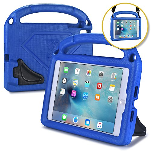 iPad Carrying Case for Kids, Fits iPad Air 1, Air 2, iPad Pro 9.7, iPad Mini 1 2 3 4 [Kid Proof Case w/ Shoulder Strap] BAM BINO HERO Shock Friendly iPad Kids Case for Boys | Large Handle, Dual Stand