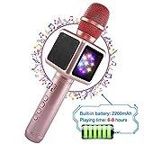 Drahtloser Bluetooth-Mikrofon-Lautsprecher/Karaoke, geeignet für Smartphone oder PC, mit LED-Licht und Änderung der Soundeffekte, Tragbarer Lautsprecher für Outdoor Party KTV, 2200 mAh,Pink