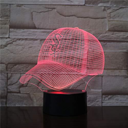 Baseball Hat Chicago White Sox, Nachtlicht, 3D Illusion Nachtlampe, 16 Farben, Acry Panel, LED, Remote switch Touch-Schalter, beste Geschenk, Ferienhaus, Dekoration
