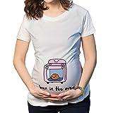 Q.KIM Witzige süße Schwangere Maternity Damen Umstandsmode T-Shirts mit Mutterschafts-niedliche lustige Slogan Motiv Schwangerschaft Geschenk Kurzarm Bun in The Oven M