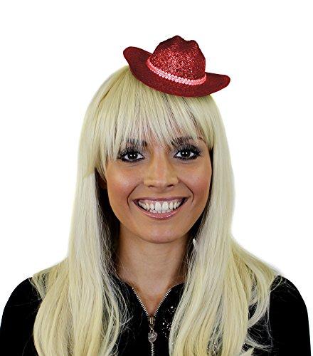 Glitzer Cowboy FACINATOR Hut in Rot mit BEFESTIGUNGS KLAMMERN= von ILOVEFANCYDRESSTOLLES ZUBEHÖR FÜR Jede Party Oder Fasching und Silvester=1 Roter Cowboy Fascinator