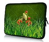 Luxburg® Design Laptoptasche Notebooktasche Tablet PC eBook Reader Tasche bis 8,1 Zoll, Motiv: Frosch im Gras